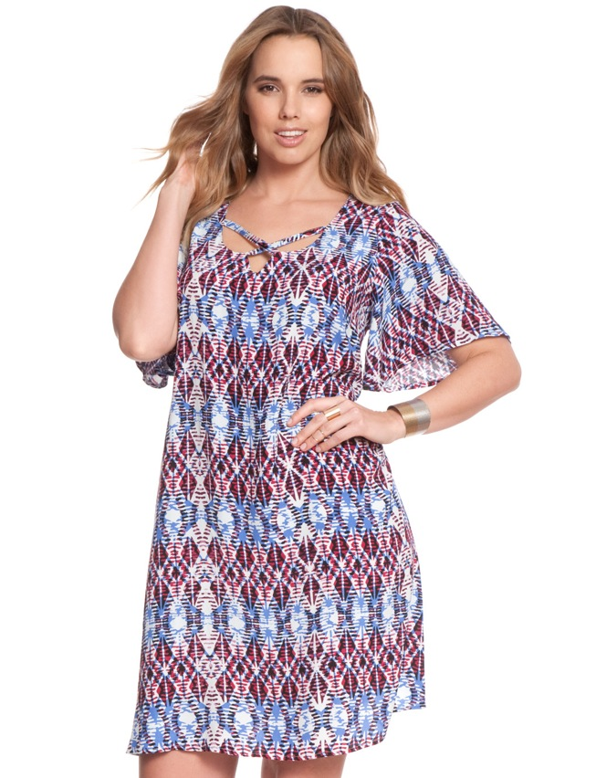 Printed Criss Cross Flare Dress