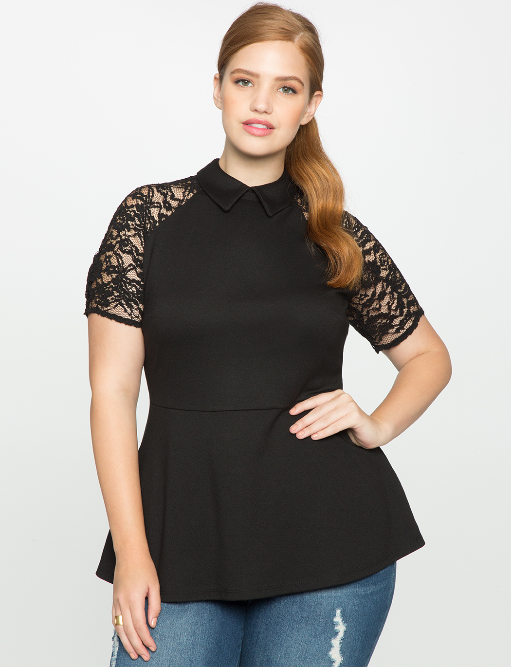 f8ea30f477fac Lace sleeve collared peplum top womens plus size tops eloquii jpg 1050x1370 Peplum  tops with sleeves