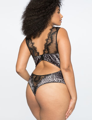 Leopard Lace Trim Bodysuit