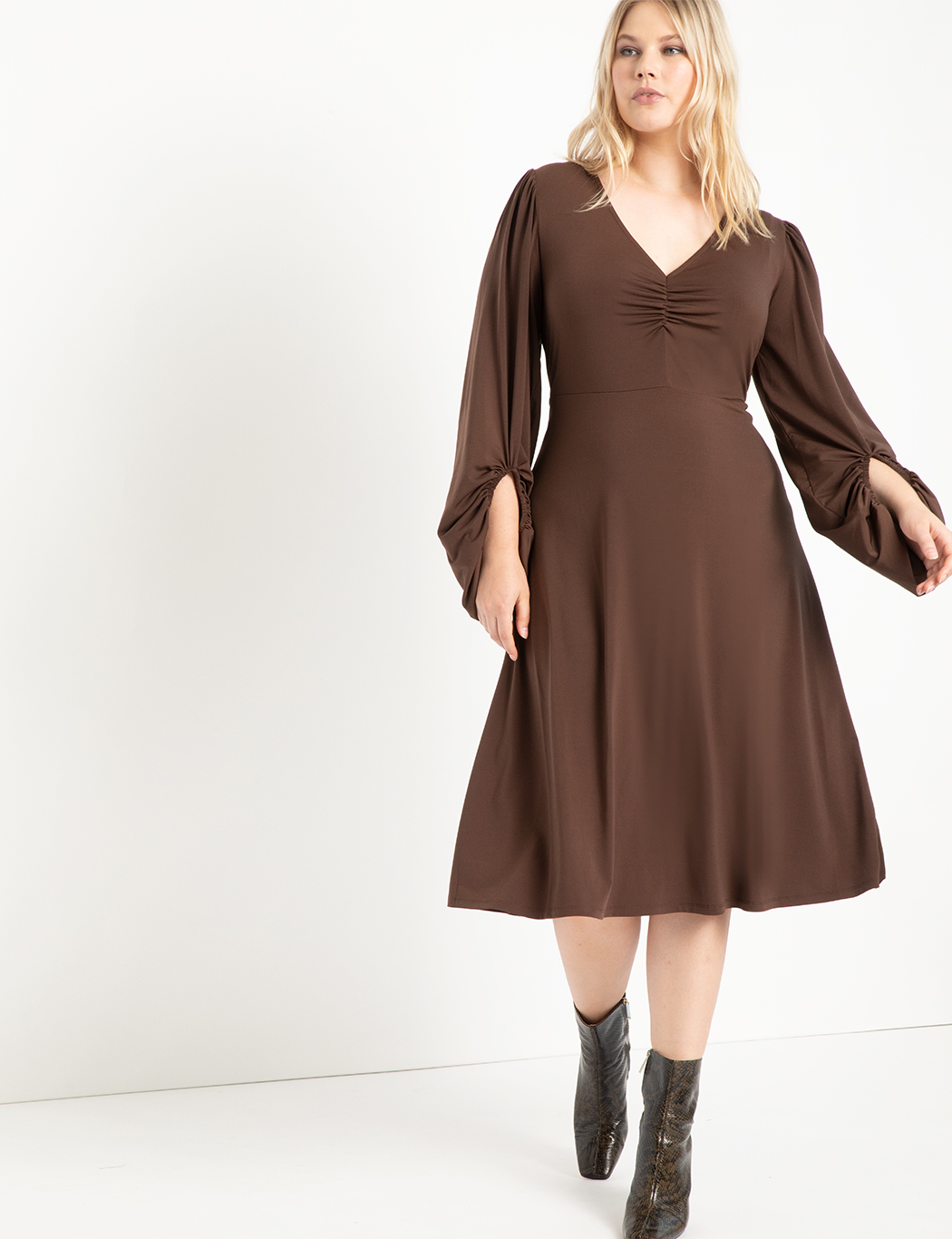 Ruched Front Dress With Puff Sleeve