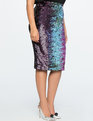Studio Variegated Sequin Pencil Skirt Pink + Teal + Navy + Purple