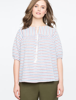 Striped Puff Sleeve Top with Tassels