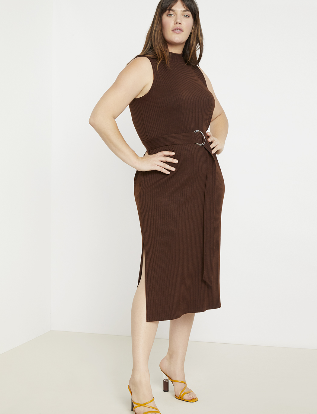 Belted Ribbed Midi Dress