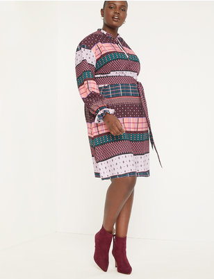 Belted Tie Neck Dress with Sleeve Detail