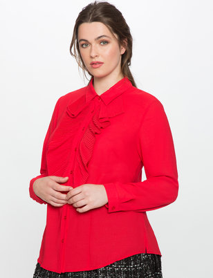 Studio Pleated Ruffle Button Down