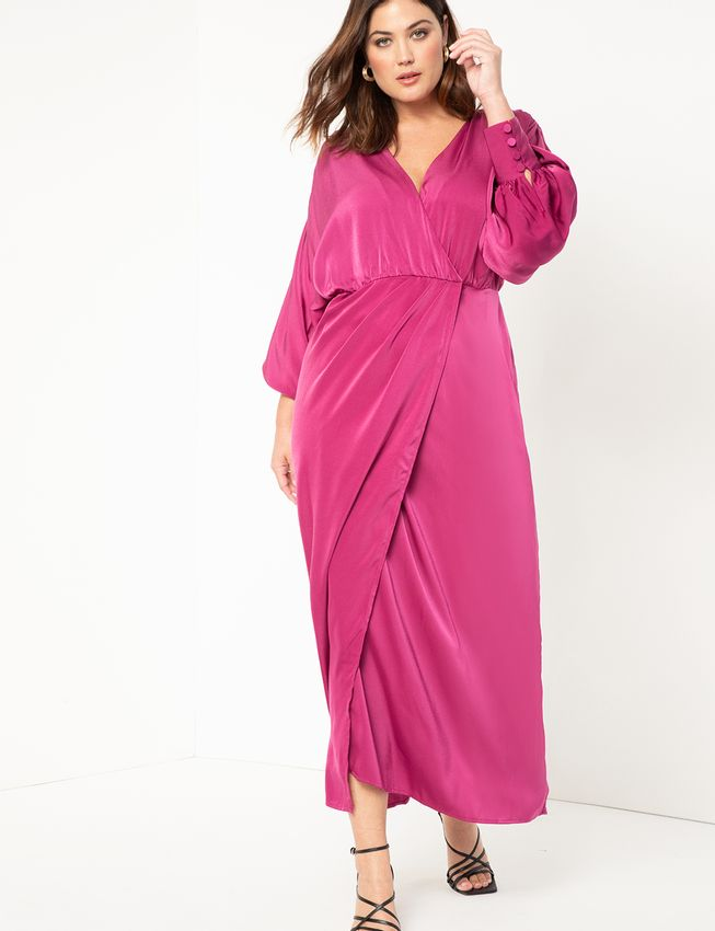 Satin Maxi Wrap Dress