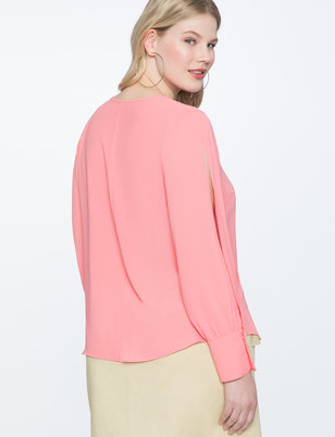 Slit Sleeve Top with Bow