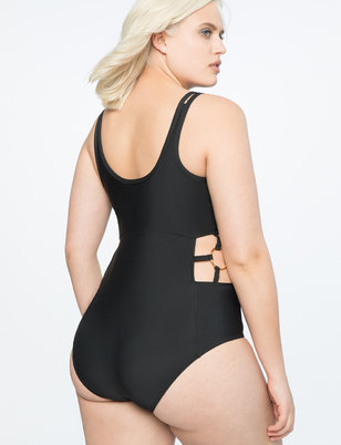 One-Piece Swimsuit with Side Ring Detail