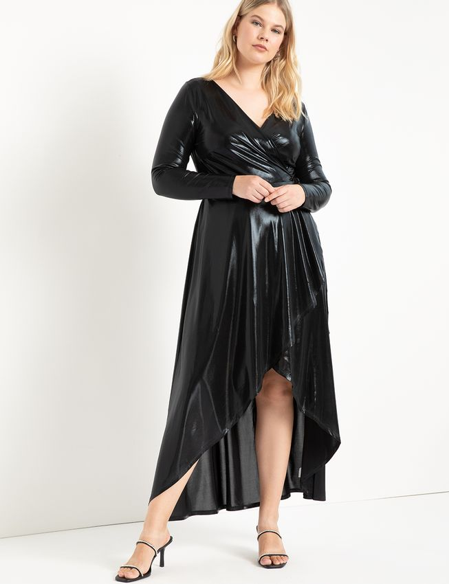 Metallic Maxi Wrap Dress