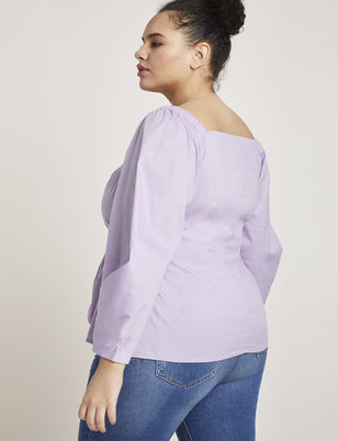 Tie Front Puff Sleeve Top
