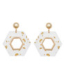 Clear Hexagon Gold Fleck Earrings Clear + Gold