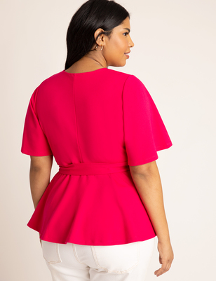 Flutter Sleeve Peplum Wrap Top
