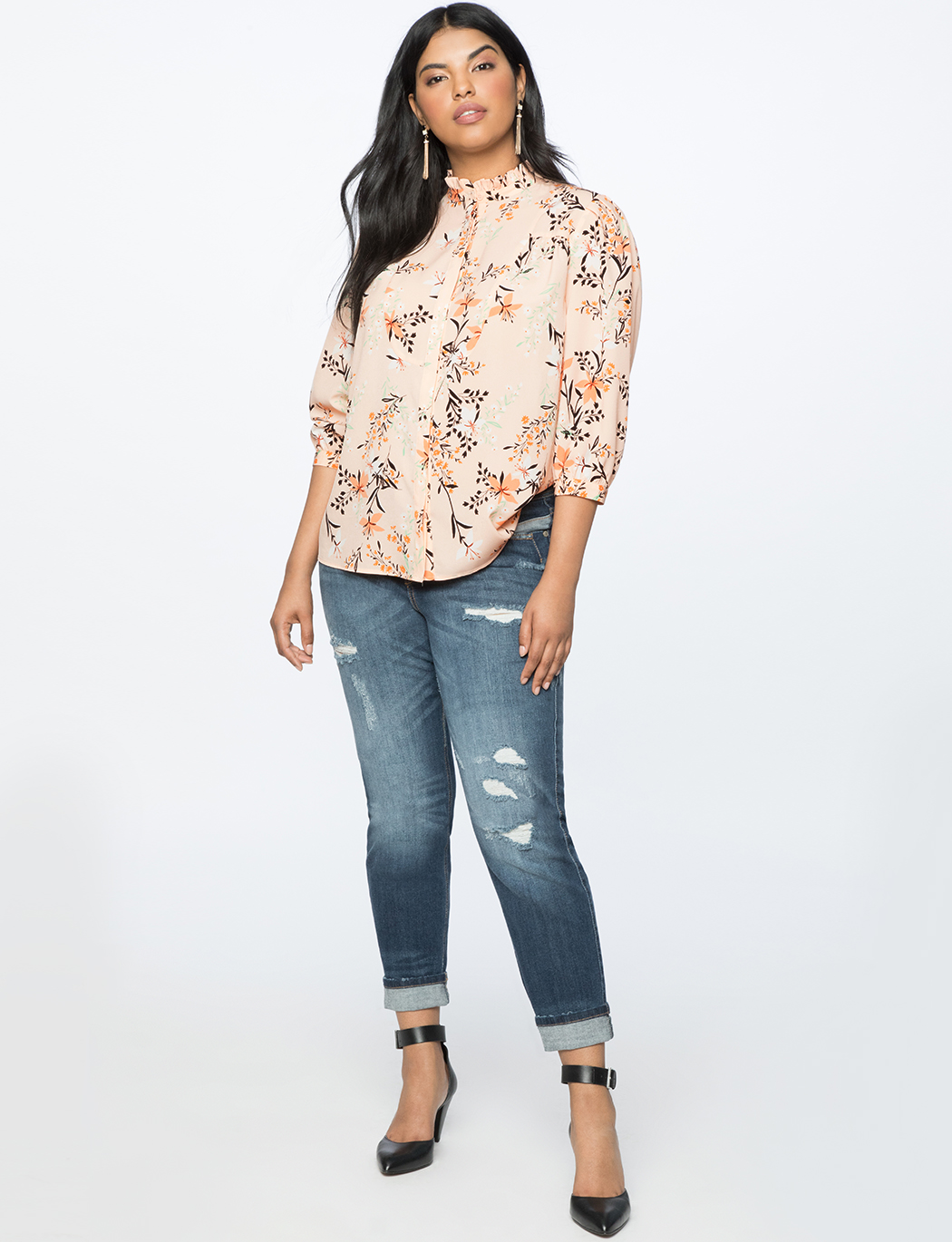 Bib Front Blouse with Ruffle Neckline