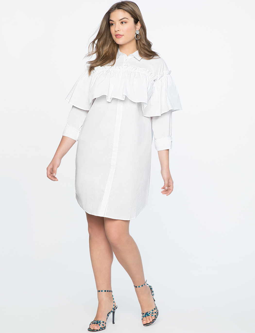 Shirtdress with Ruffle Overlay