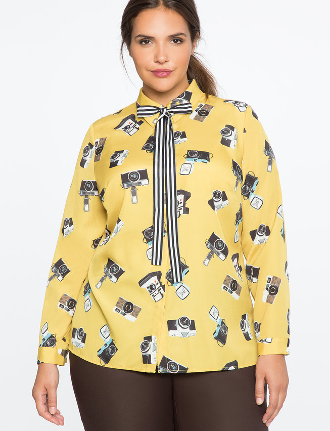Conversational Blouse with Tie
