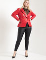 Faux Leather Double Breasted Blazer Red