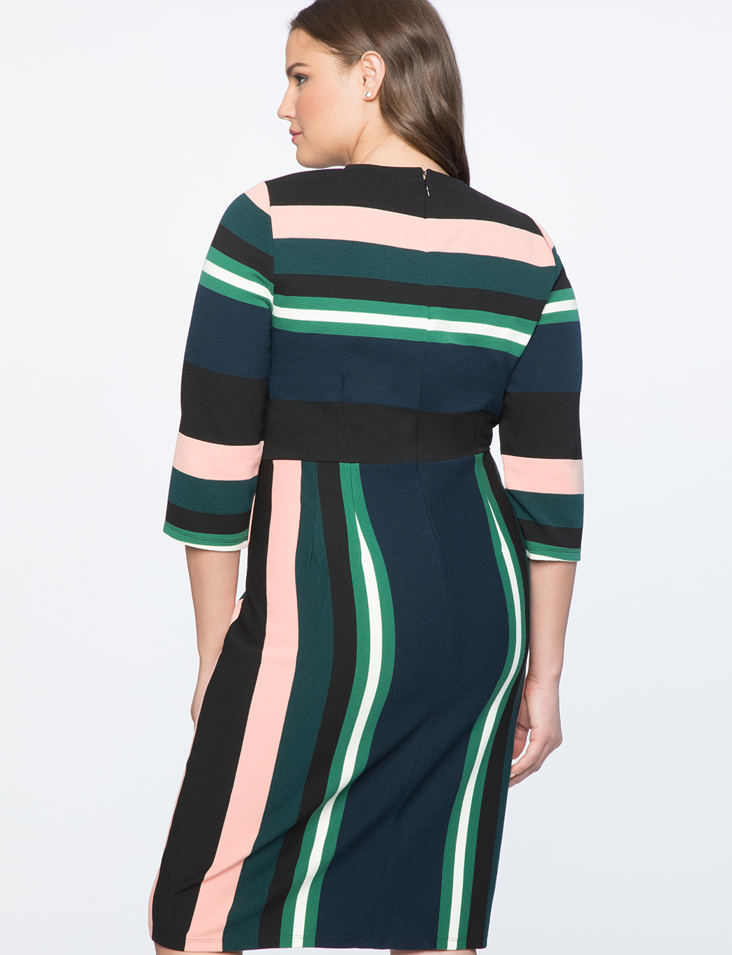 Opposing Stripe Sheath Dress
