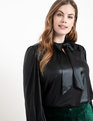 Metallic Bow Blouse Black