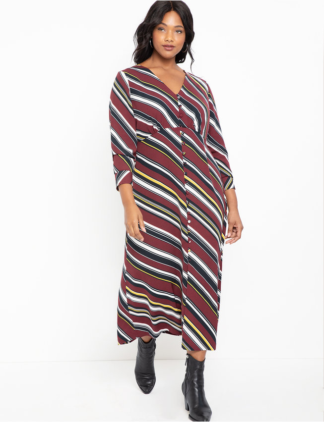 Button Front Maxi Dress