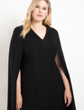 Sharp Shouldered Cape Dress Totally Black