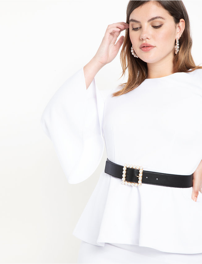 Square Pearl Buckle Belt