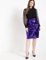 Sequin Column Skirt Electric Purple