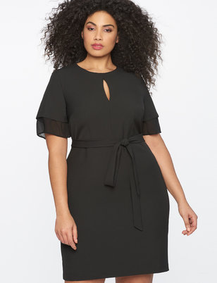 Tie Front Dress with Layered Sleeve