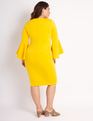 Flare Sleeve Scuba Dress Sun Glazed