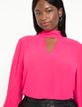 Dramatic Sleeve Blouse with Cutout Peony Pink