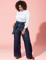 Classic Fit Belted High Rise Wide Leg Denim Dark Wash