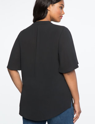 Flutter Sleeve Pleat Front Tunic
