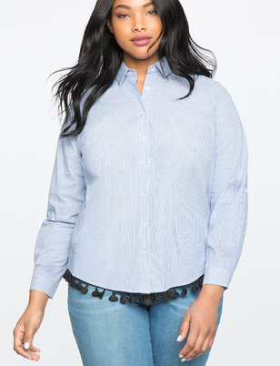 Tassel Hem Button Up Shirt