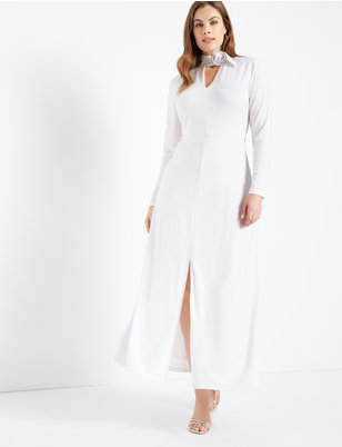 Buckle Collar Dress with Slit