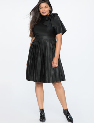 Faux Leather Tie Neck Dress