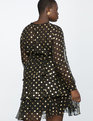 Tiered Skirt Dress Black with Metallic Gold