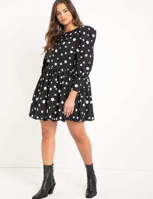 Puff Sleeve Dress With Bubble Hem