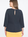 Flared Sleeve Tie Front Top Sky Captain