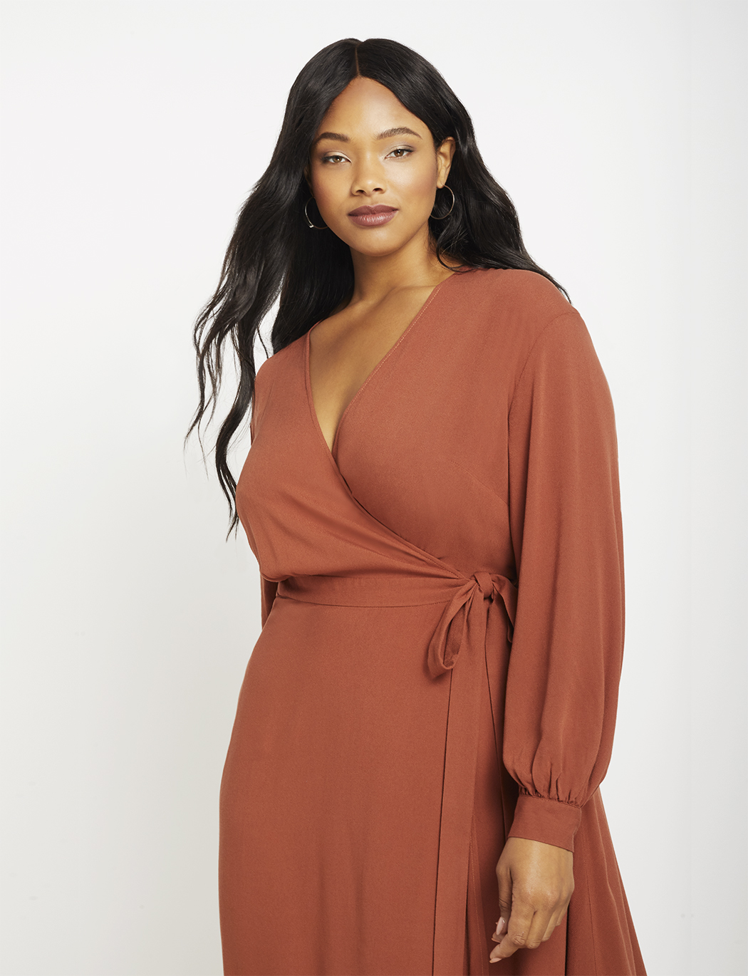 Long Sleeve Wrap Dress with Tie | Women\'s Plus Size Dresses | ELOQUII