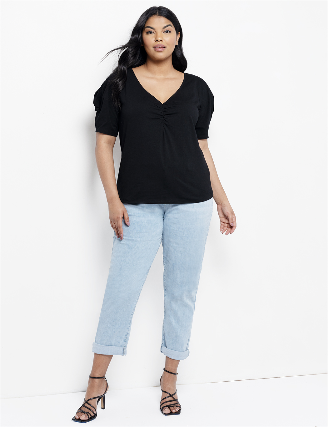 Open Sleeve V-Neck Top
