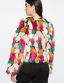 Cropped Faux Fur Coat Multi Color