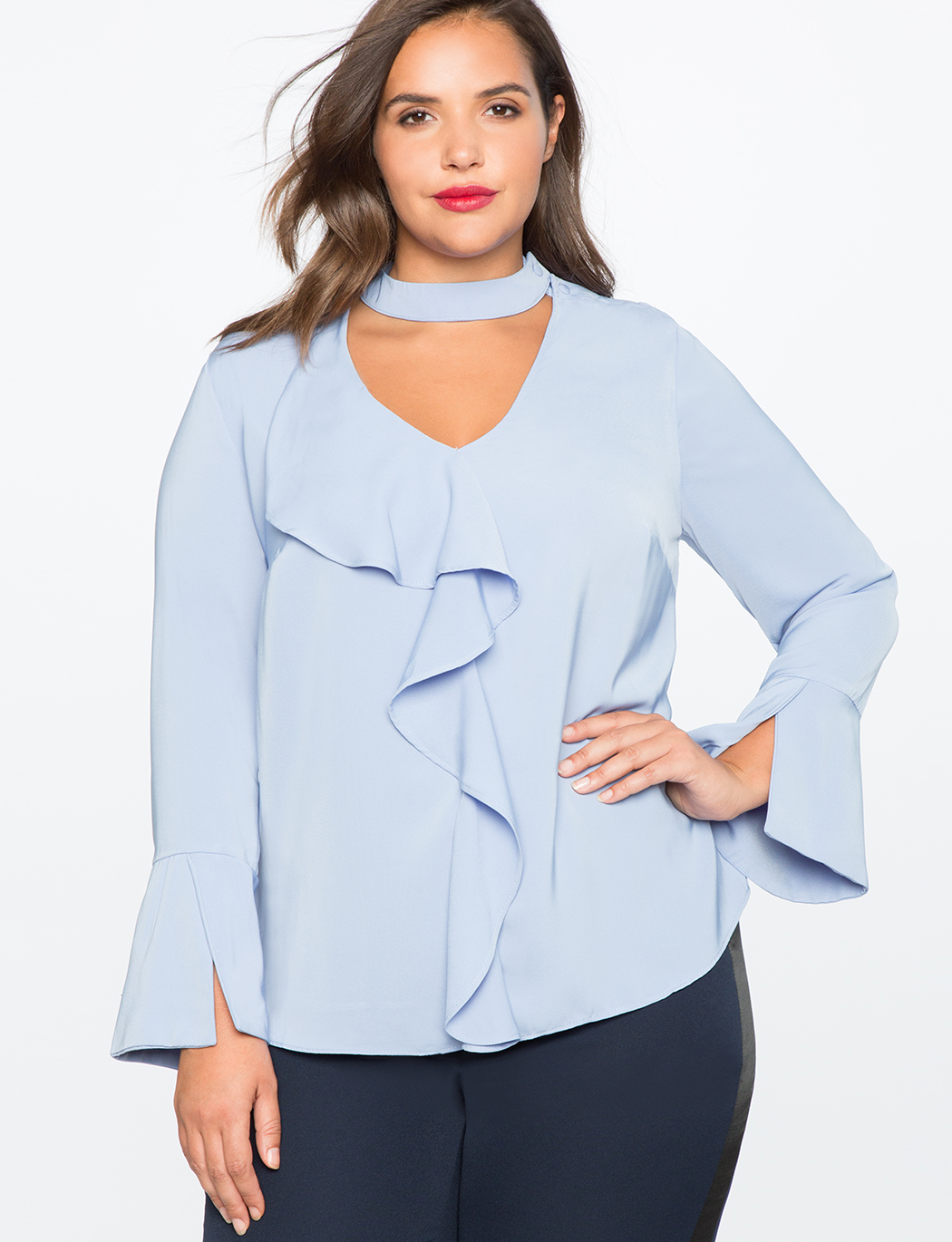 V Neck Ruffle Front Blouse Women S Plus Size Tops Eloquii