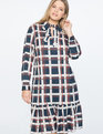 Tie Neck Ruffled Hem Mini Dress Power Plaid