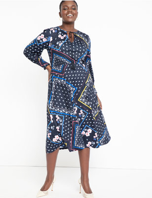 Mixed Print Tie Neck Fit and Flare Dress