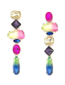 Asymmetric Jeweled Drop Earrings Multicolor + Gold