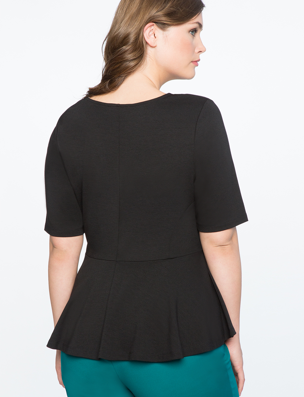 Elbow Sleeve Peplum Top