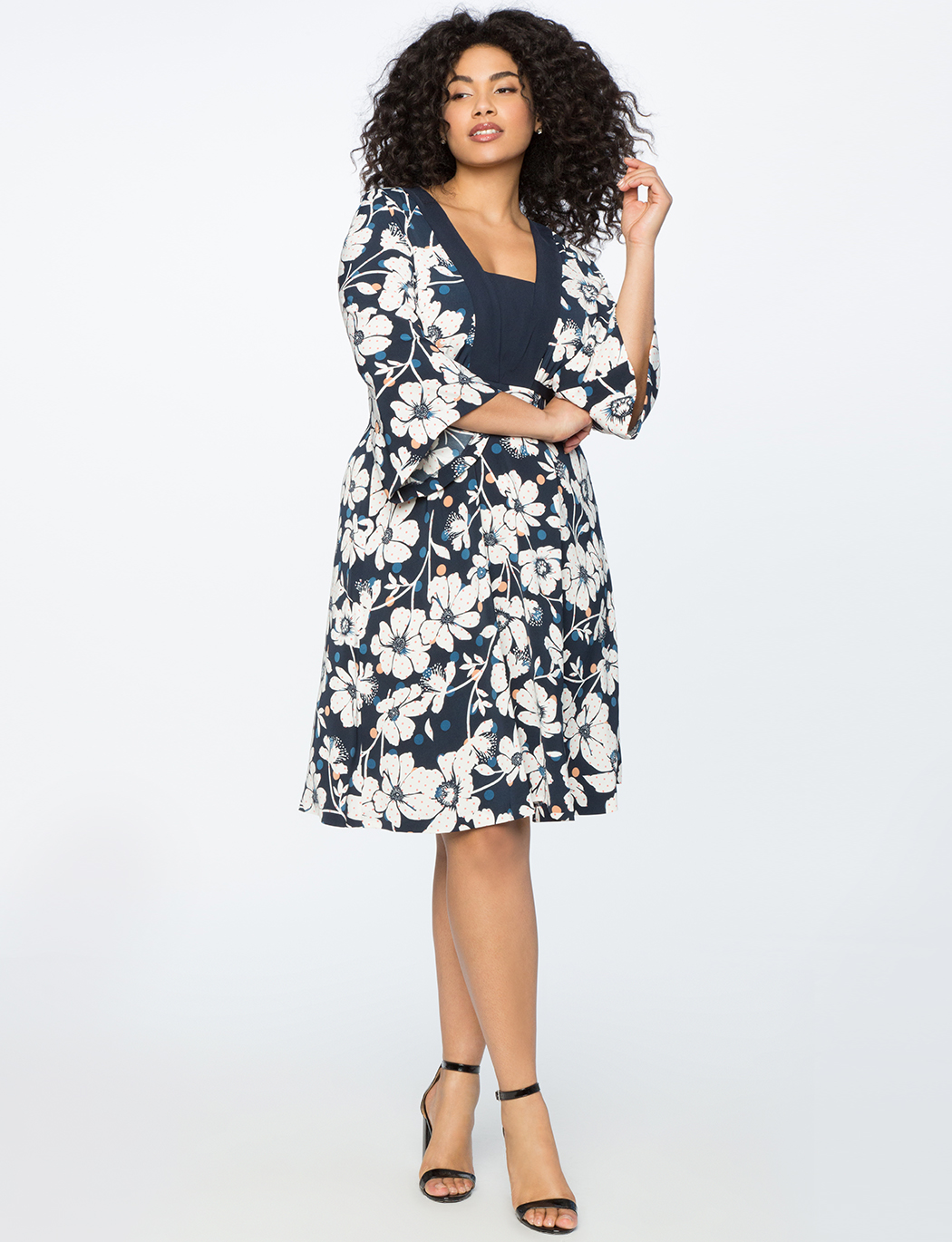 Printed Fit and Flare Dress with V Neck Detail