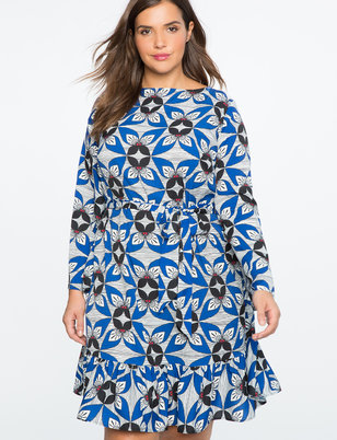 Flounce Hem Flared Sleeve Dress