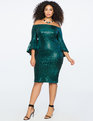 Sequin Off the Shoulder Flare Sleeve Dress EMERALD