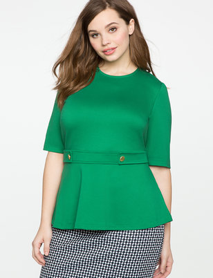 Elbow Sleeve Button Detail Top
