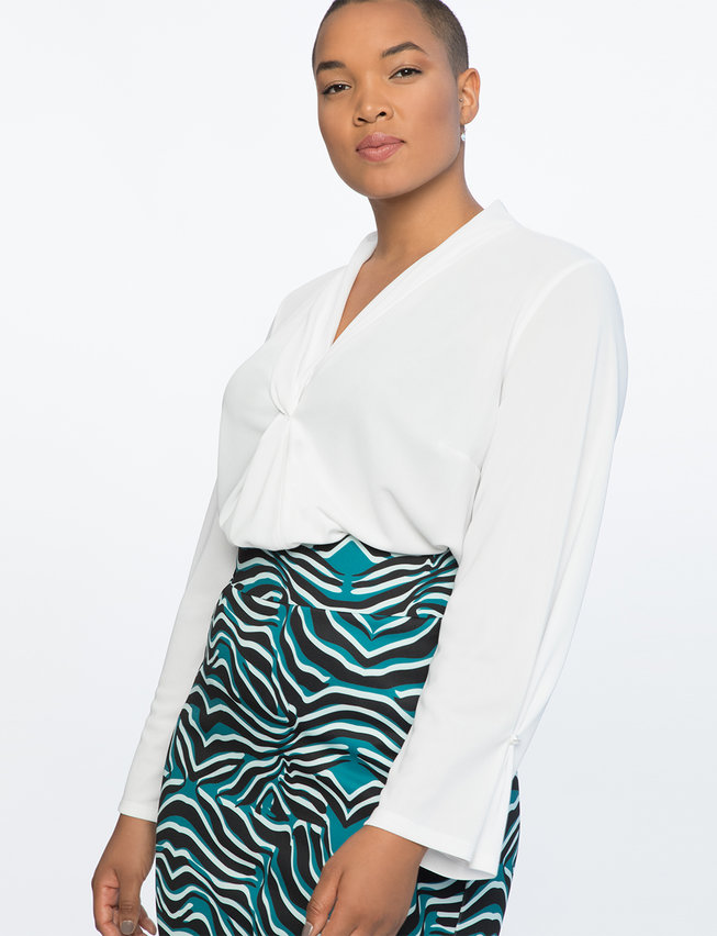Draped Blouse with Pearl Cuff